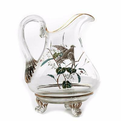 Antique Victorian Czech hand gold gilt enamel flowers bird crystal glass jug