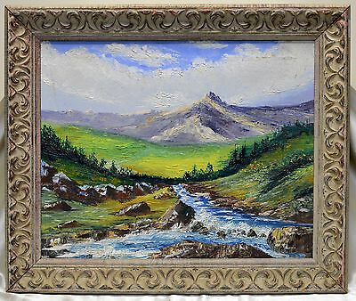 Elaborate Vintage Mountain & Stream Oil Painting in Beige Antique Wood Frame
