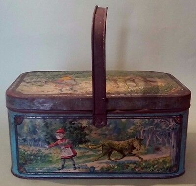French large box 1900 lithographed sheet metal Petit Chaperon Rouge decor