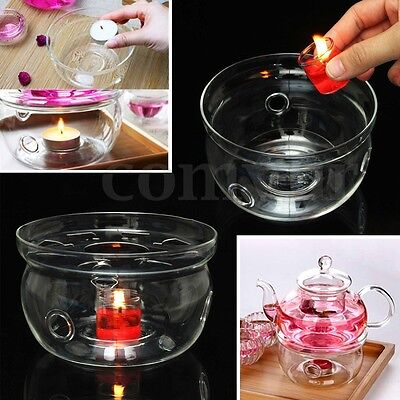 UK Clear Glass Round Heat-Resisting Candle Teapot Warmer Base Holder Home Decor