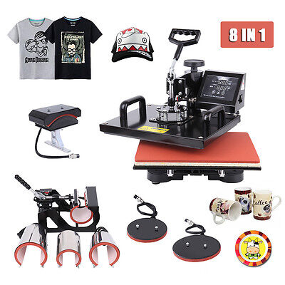 8 in 1  Heat Press Machine Sublimation Transfer Cap Plate Mug T-shirt Printing