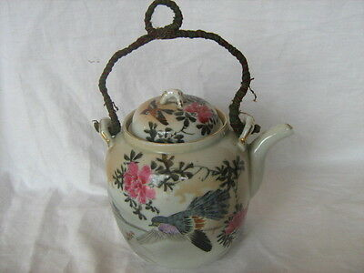 Antique c. 1890 Japanese teapot bird and flower hand decorated