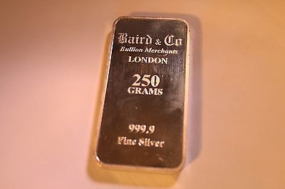 Baird & Co 999.9 Fine Silver 250 Gram Bar In Near Mint Condition