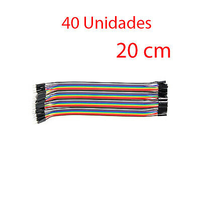 Lote x40 Cable Dupont 2,54 Conector 1 pin Macho - Hembra 20cm