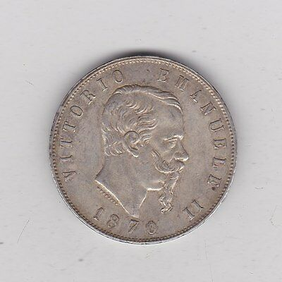 1870 Silver Five Lire From Italy In Used Very Fine Condition