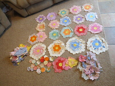 20 Vtg Flower Garden Quilt Blocks + 187 Cut Pieces Hand Stitched Flour Sack