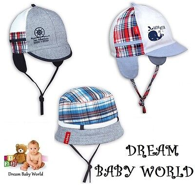 100% Cotton SUN BONNET spring summer boys HAT size 6 - 24 months 2 - 3 Years