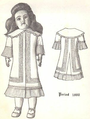 "22"" Period DOLL DRESS PATTERN Victorian  German  French ANTIQUE / vintage look"