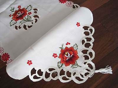 Lovely Red Rose Daisy Embroidery Cutwork Ivory Braid Table Runner 150CM Clearanc