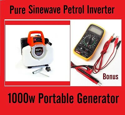 New 240v Output Pure Sinewave Generator Petrol Portable Inverter + Multimeter