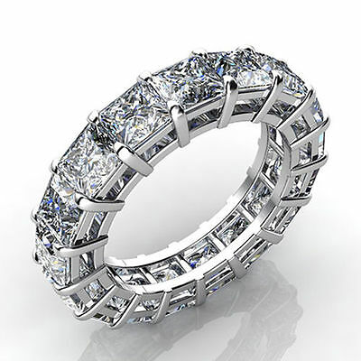 7.00Ct Princess Cut Full Eternity Ring 14K White Gold Over Cz Anniversary Band