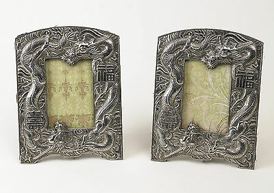 Pair of Antique Chinese White Metal Repousse Photo Frames with Dragons c1900