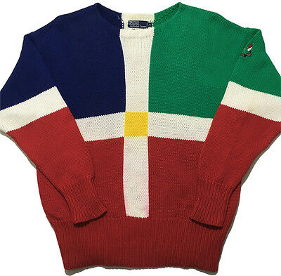 Vintage 90s Polo Ralph Lauren Cross Flags Sweater Cotton Knit Crewneck Mens XL