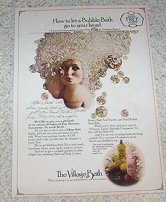 1976 print ad page - Village Bath bubbles hair Girl ADVERT Advertising Clipping