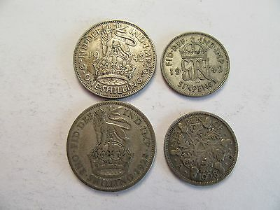 4 Great Britain Silver Coins 1928 & 1942 1 shilling + 1928 & 1942 6 pence