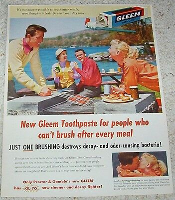 1950s vintage ad - Gleem toothpaste lake BBQ cookout Procter & Gamble PRINT AD