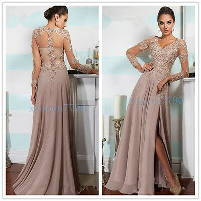 Long Chiffon Bead Lace Bridesmaid Evening Cocktail Formal Party Prom Gown Dress