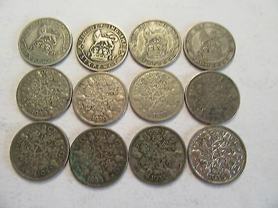 Lot of 12 Great Britain Silver 6 Pence, 1921-22, 1926-1933, 1935-1936