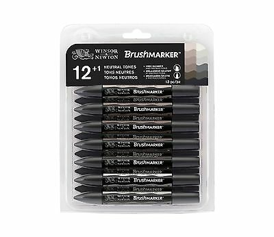 Winsor & Newton BrushMarker Marker Pen Set of 12 Neutral / Grey Tones +  Blender