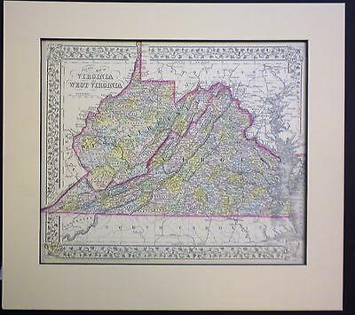 Authentic 1872 Mitchell Map of Virginia and West Virginia matted for framing