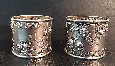 PAIR of ROSE by GORHAM ART NOUVEAU ANTIQUE STERLING NAPKIN RINGS HAND CHASED