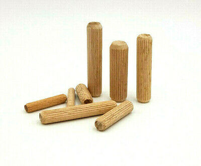 260 ASSORTED 10mm HARDWOOD DOWELS WOODEN CHAMFERED FLUTED PIN WOOD BEECHWOOD KIT