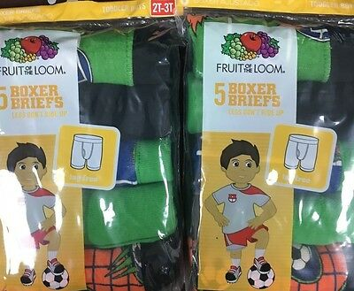 Fruit of the Loom Toddler Boys Boxer Briefs 5 Pk Size 2T/3T (2 pks together)