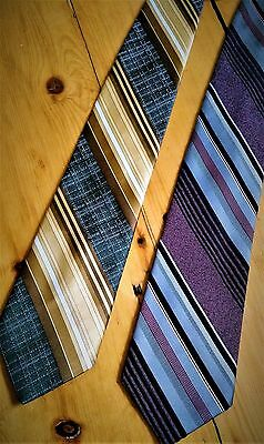 "Vtg Pegasus Ugly Mens Ties 4"" Wide Shiny & Matte Striped Neutral Colors Lot Of 2"