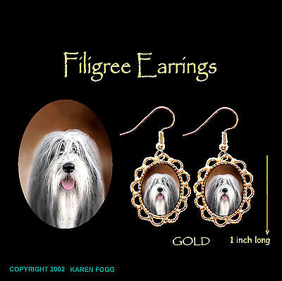 BEARDED COLLIE DOG -GOLD FILIGREE EARRINGS Jewelry