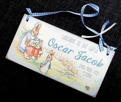 Lovely Personalised Peter Rabbit Hanger Ideal For New Baby, Christening Gift