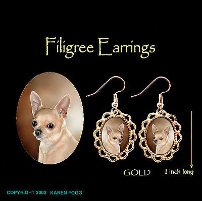 CHIHUAHUA DOG Smooth Fawn Adult - GOLD FILIGREE EARRINGS Jewelry