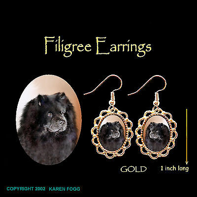 CHOW CHOW DOG Black  - GOLD FILIGREE EARRINGS Jewelry