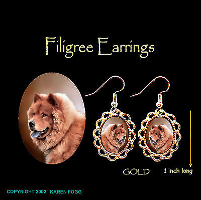 CHOW CHOW DOG Red - GOLD FILIGREE EARRINGS Jewelry