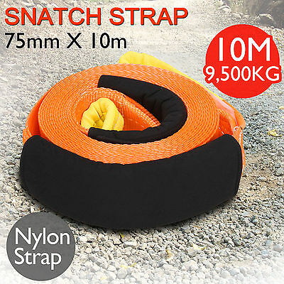 10M Heavy Duty Car Winch Towing Snatch Strap Offroad Tow Rope 9.5 Tons Recovery