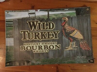 Wild turkey bar posters 3x2 foot tough vinyl print man cave pool room sign biker
