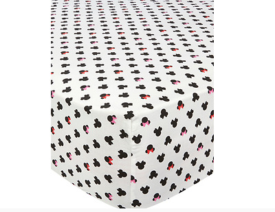 Disney Minnie Mouse Single Fitted Sheet Girls Kids Childrens Bedroom Bedding