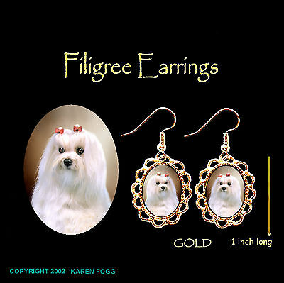 MALTESE DOG Show Coat - GOLD FILIGREE EARRINGS Jewelry