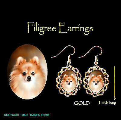 POMERANIAN DOG Red POM - GOLD FILIGREE EARRINGS Jewelry