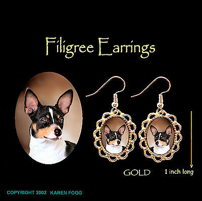 RAT TERRIER DOG - GOLD FILIGREE EARRINGS Jewelry