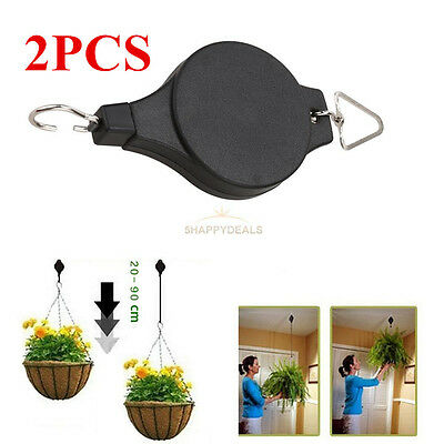 2Pcs Retractable Pulley Hanging Basket Pull Down Hanger Garden Plant Pots Holder