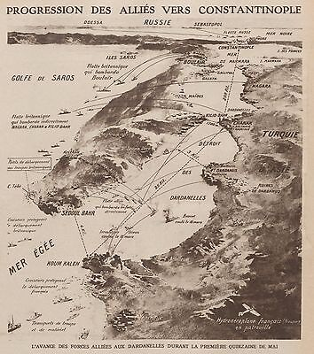 World War 1 Dardanelles Map Allied Attack 1915 Weekly Mirror 9x8 Inch REPRINT