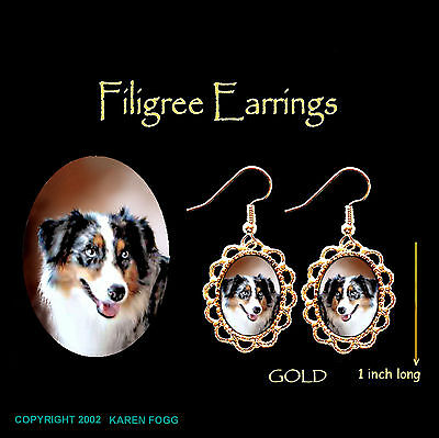 AUSTRALIAN SHEPARD DOG Dark - GOLD  FILIGREE EARRINGS Jewelry