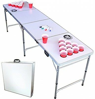 Whiteboard Beer Pong Table with Cup Holes Portable Folding Party Drinking Game