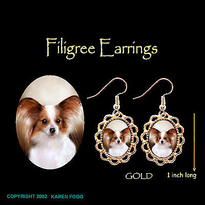 PAPILLION DOG Red White - GOLD FILIGREE EARRINGS Jewelry