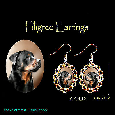 ROTTWEILER DOG - GOLD FILIGREE EARRINGS Jewelry