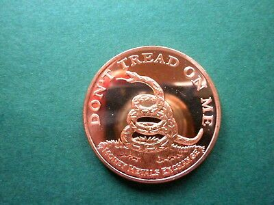 SMALL EAGLE BACK Don/'t Tread On Me Tea Party 1oz Copper Round #3