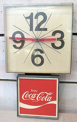 Coca Cola Wall Clock - Ingress Plastene Coke Advertising Sign - Vintage Working