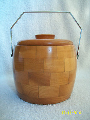 Turned Wooden Block Ice Bucket .Chromium Plated Handle . Lovely Condition