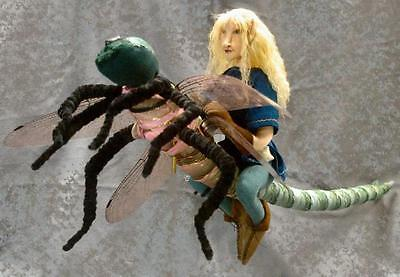 """*new* Cloth Art Doll Downloadable (E-Pattern) """"dragonfly Rider"""" By Judy Skeel"""