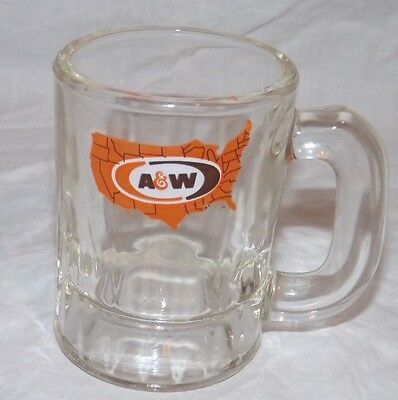 """Vintage A & W Root Beer Float Miniature Mini Heavy Glass Baby Mug 3 1/4"""" Tall"""